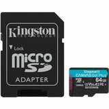 Карта памяти Kingston MicroSDXC 64GB Canvas Go! Plus Class 10 UHS-I U3 V30 A2 + SD-адаптер (SDCG3/64GB)